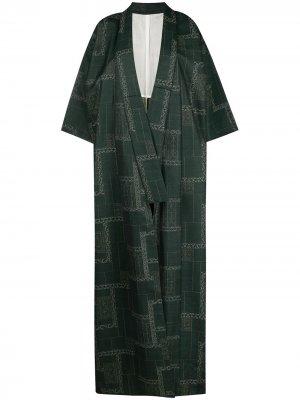 Пальто-кимоно 1970-х годов с геометричным узором A.N.G.E.L.O. Vintage Cult. Цвет: зеленый