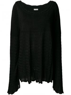 Трикотажная блузка ампирного силуэта 1990-х годов Alaïa Vintage. Цвет: черный