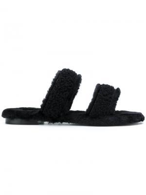 Shearling double strap sandals Avec Modération. Цвет: чёрный