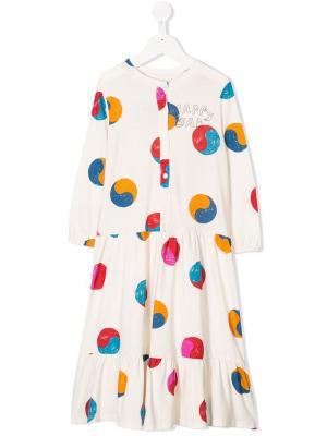 Платье Yin Yang с принтом Bobo Choses. Цвет: белый