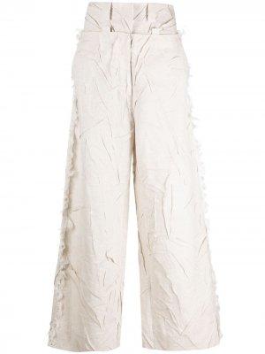 Широкие брюки с жатым эффектом Krizia. Цвет: нейтральные цвета