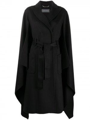 Двубортное пальто-кейп Alberta Ferretti. Цвет: черный