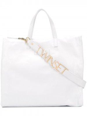 Структурированная сумка-тоут Twin-Set. Цвет: белый