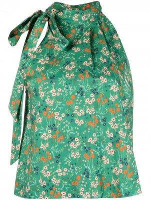 LAutre Chose блузка с вырезом халтер и цветочным принтом L'Autre. Цвет: зеленый