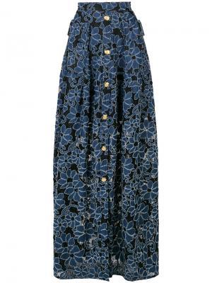 Юбка макси с цветочным принтом Talbot Runhof. Цвет: черный