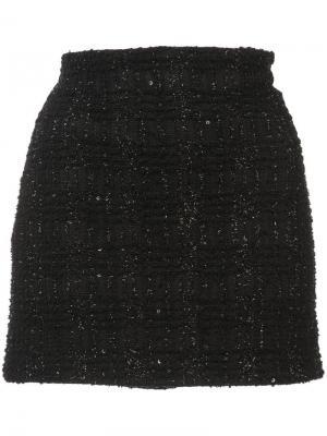 Твидовая юбка мини с блестящими нитями Alice+Olivia. Цвет: черный