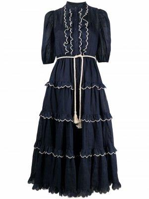 Платье-рубашка с фестонами Zimmermann. Цвет: синий