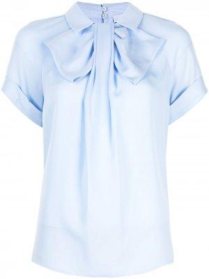 Блузка с бантом на воротнике Dice Kayek. Цвет: синий