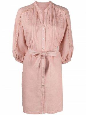 Платье-рубашка с защипами 120% Lino. Цвет: розовый