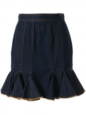Расклешенная юбка Karen Walker. Цвет: синий