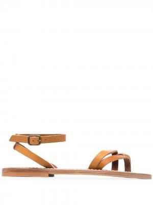 Сандалии с перекрестными ремешками K. Jacques. Цвет: коричневый