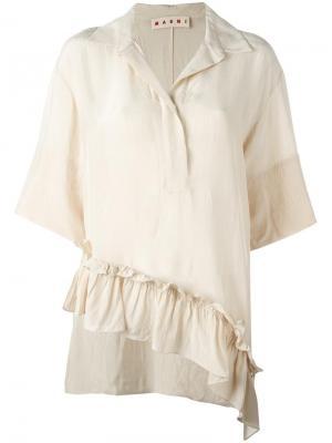 Блузка с оборками Marni. Цвет: нейтральные цвета