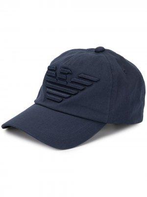 Бейсболка с вышитым логотипом Emporio Armani. Цвет: синий