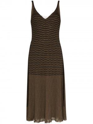 Трикотажное платье миди в полоску Chloé. Цвет: зеленый