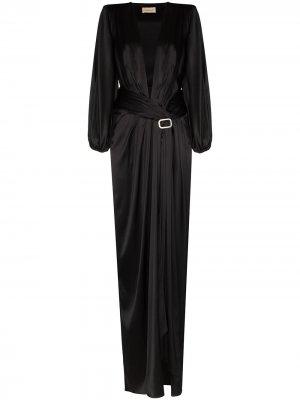 Платье с V-образным вырезом и кристаллами Alexandre Vauthier. Цвет: черный