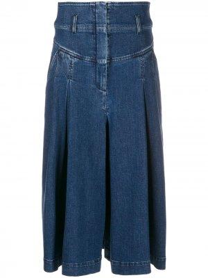 Джинсовая юбка миди Alberta Ferretti. Цвет: синий