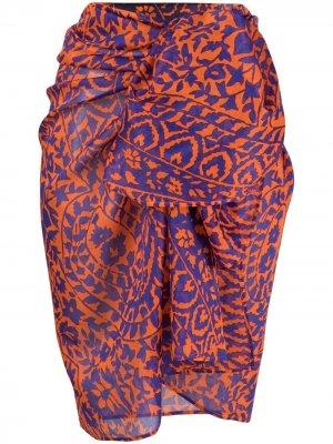 Пляжная накидка с цветочным принтом Eres. Цвет: оранжевый