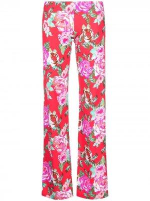 Прямые брюки с цветочным принтом Fisico. Цвет: черный
