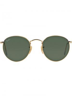 Солнцезащитные очки RB3447 в круглой металлической оправе Ray-Ban. Цвет: золотистый