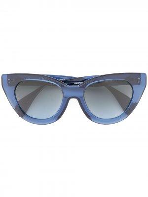 Солнцезащитные очки Holly Audrey в массивной оправе кошачий глаз Oscar de la Renta. Цвет: синий