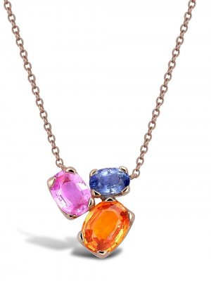 Колье Rainbow Fancy из розового золота с сапфирами Pragnell. Цвет: розовый