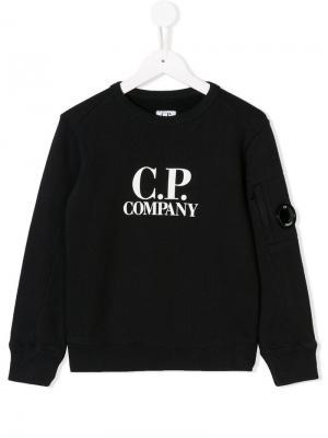 Толстовка с принтом логотипа Cp Company Kids. Цвет: синий