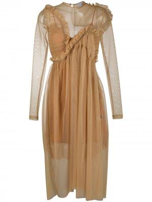 Прозрачное платье с оборками Preen By Thornton Bregazzi. Цвет: нейтральные цвета