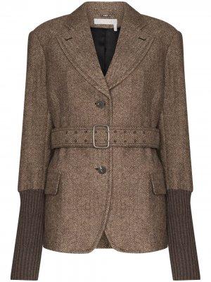 Пиджак с манжетами в рубчик и узором елочку Chloé. Цвет: коричневый