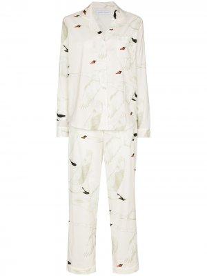 Пижама с принтом Desmond & Dempsey. Цвет: белый