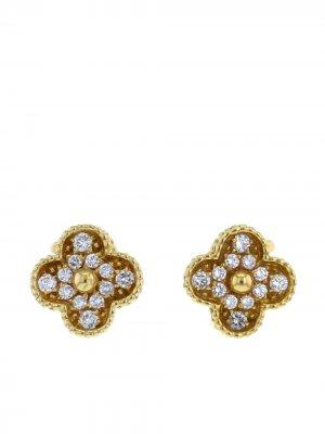 Серьги-клипсы Alhambra 2010-х годов из желтого золота с бриллиантами Van Cleef & Arpels. Цвет: желтый,белый