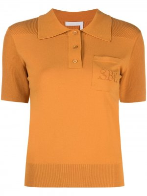 Рубашка поло с вышитым логотипом See by Chloé. Цвет: оранжевый