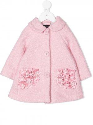 Пальто с аппликацией Monnalisa. Цвет: розовый
