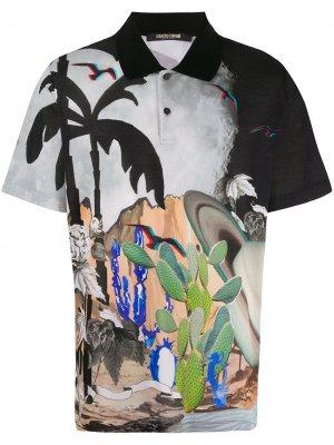 Рубашка поло с принтом Surreal Postcard Roberto Cavalli. Цвет: черный