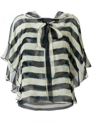 Блузка в полоску с бантом Alberta Ferretti. Цвет: синий