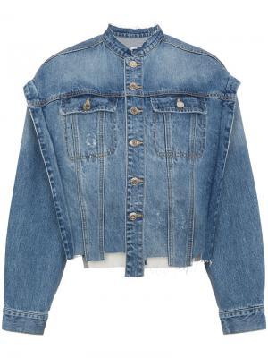 Джинсовая куртка со вставкой с надписью SJYP. Цвет: синий