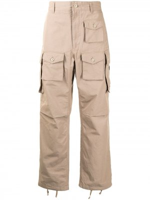 Брюки карго FA Engineered Garments. Цвет: коричневый