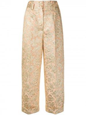 Укороченные жаккардовые брюки Dolce & Gabbana. Цвет: золотистый