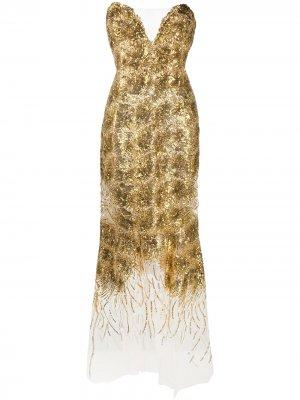 Вечернее платье с пайетками Ermanno Scervino. Цвет: золотистый