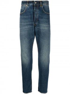 Прямые джинсы с эффектом потертости Golden Goose. Цвет: синий