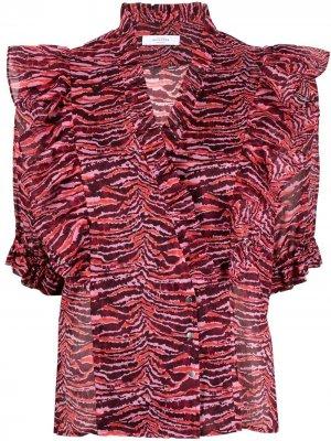 Полосатая блузка с оборками Roseanna. Цвет: розовый