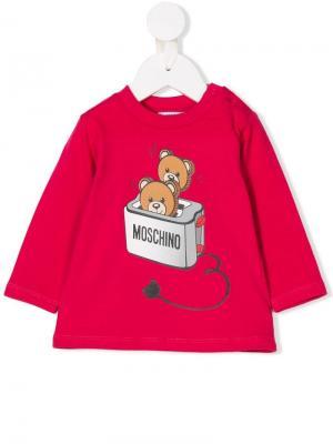 Топ с принтом тостера и медведей Moschino Kids. Цвет: розовый