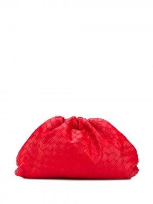 Клатч  Pouch с плетением Intrecciato Bottega Veneta. Цвет: красный