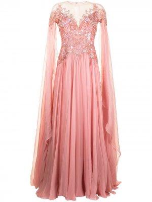 Шифоновое платье с кейпом Zuhair Murad. Цвет: розовый