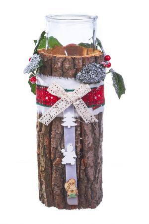 Подсвечник Свеча на пеньке DUE ESSE CHRISTMAS. Цвет: коричневый