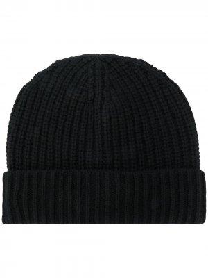Кашемировая шапка бини в рубчик Iris Von Arnim. Цвет: черный
