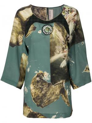 Блузка с принтом Antonio Marras. Цвет: зеленый