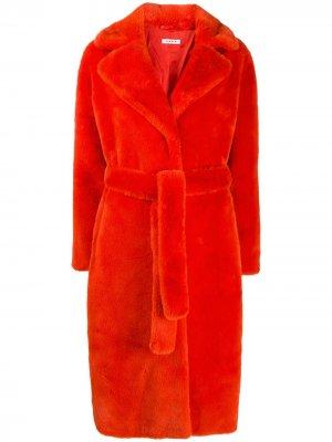 Шуба из искусственного меха с поясом P.A.R.O.S.H.. Цвет: оранжевый