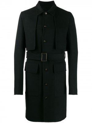 Пальто с поясом и вставками Rick Owens. Цвет: черный