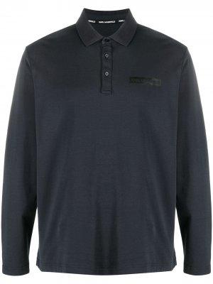 Рубашка поло с длинными рукавами и логотипом Karl Lagerfeld. Цвет: синий