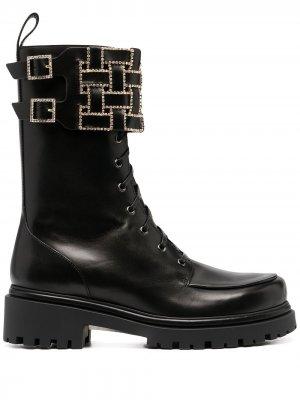 Ботинки с декорированными ремешками René Caovilla. Цвет: черный